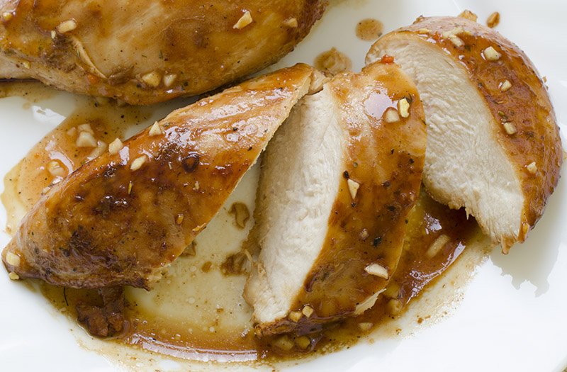 Realy tasty, delicious chicken breast with garlic and chili - Glazed Chicken Breast With Garlic Sauce