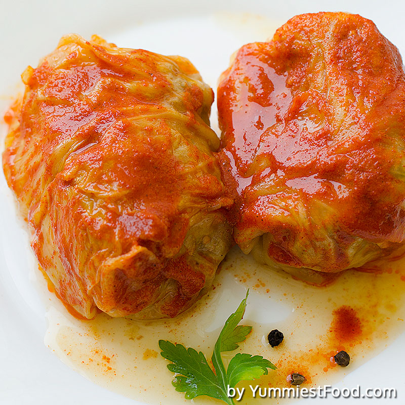 Cabbage rolls with pork, beef and rice