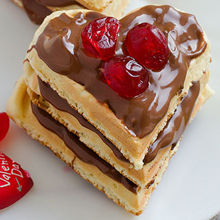 Valentine's Waffles With Nougat Cream - Featured Image