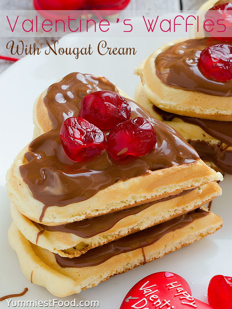 Valentine's Waffles With Nougat Cream