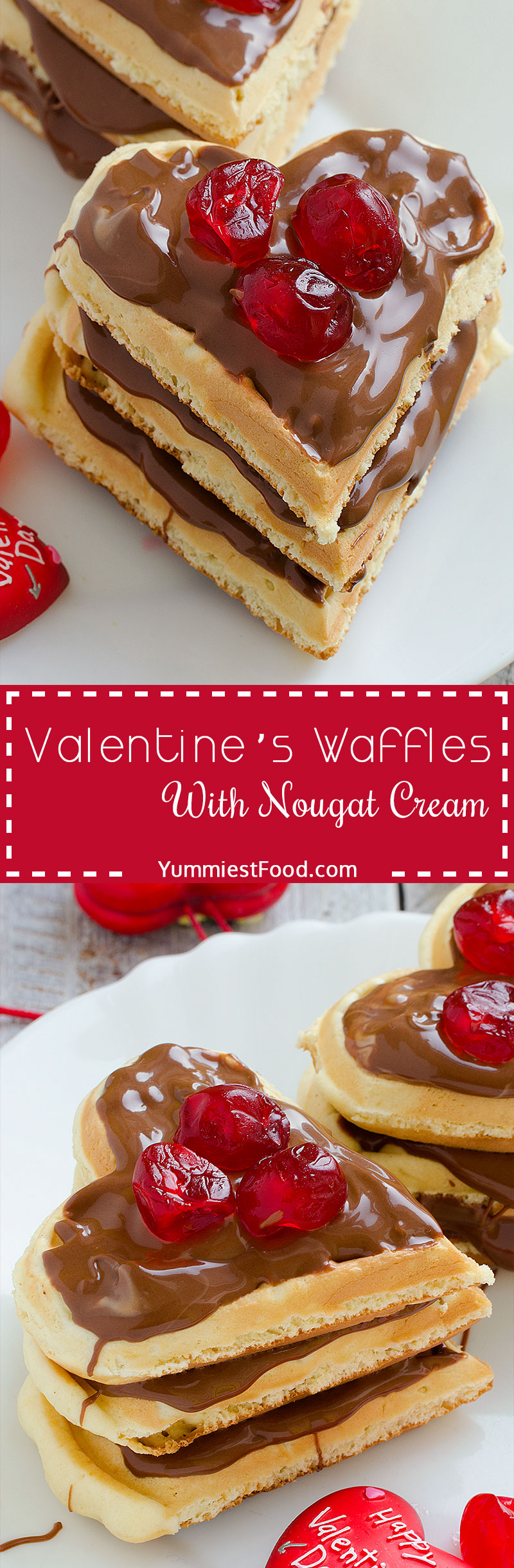 Valentine's Waffles With Nougat Cream - Heart-Shaped