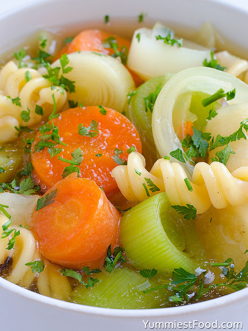Soup With Vegetables and Pasta - Close Up