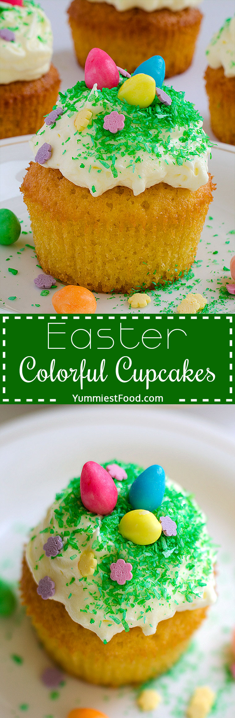 Easter Colorful Cupcakes - Easter is coming, so try to make these Easter colorful cupcakes and surprise your family and children! Very easy, quick, soft and delicious Easter colorful cupcakes