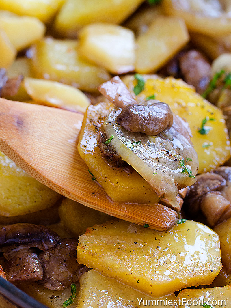 Potatoes With Onions and Mushrooms - Close Up