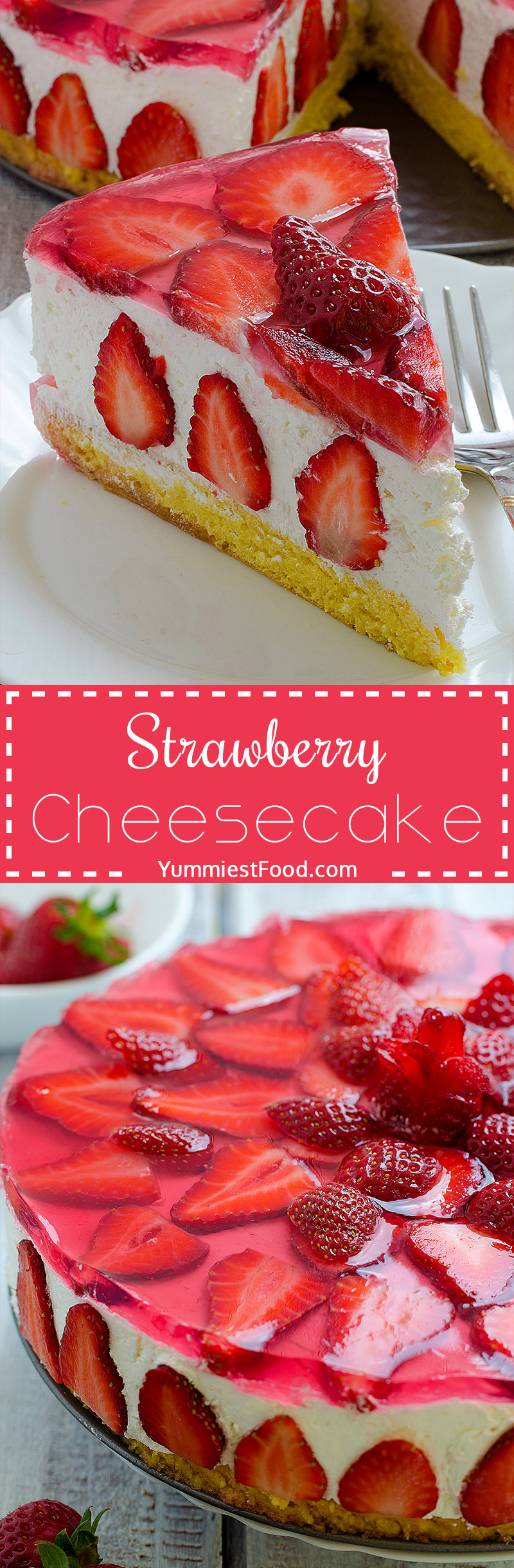 Strawberry Cheesecake - This cake with cheese and strawberry combination is very tasty, delicious, quick and very refreshing.