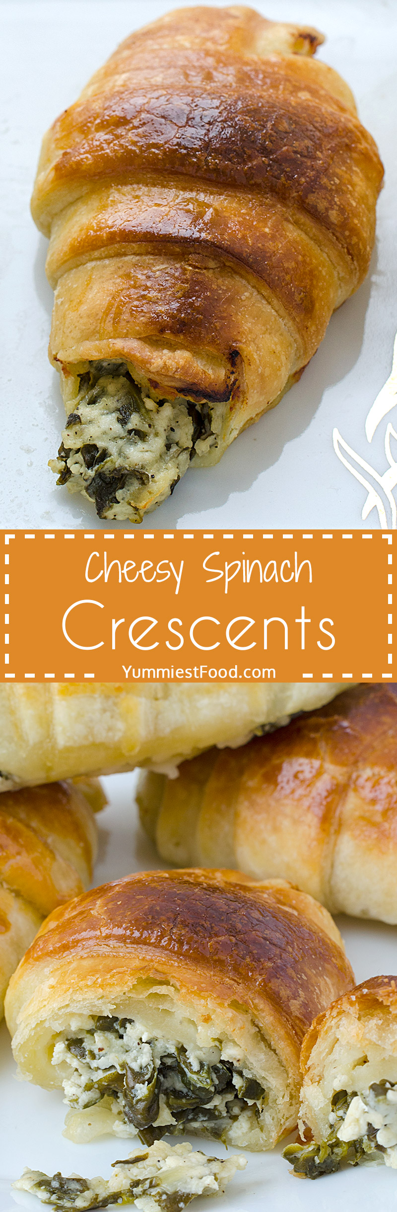 Cheesy Spinach Crescents - puff pastry, so delicious and soft! You you need only 20 minutes for them.