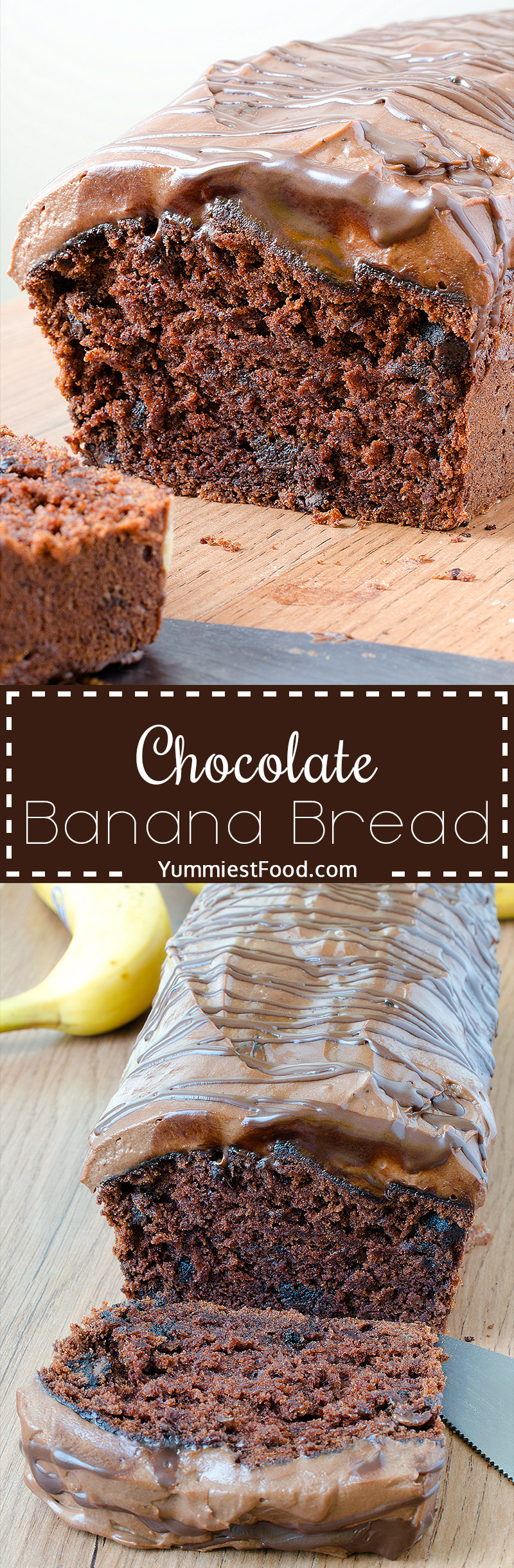 Chocolate Banana Bread - Soft, light and delicious