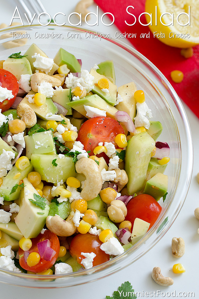 Avocado, Tomato, Cucumber, Corn, Chickpea and Cashew Salad with Feta Cheese