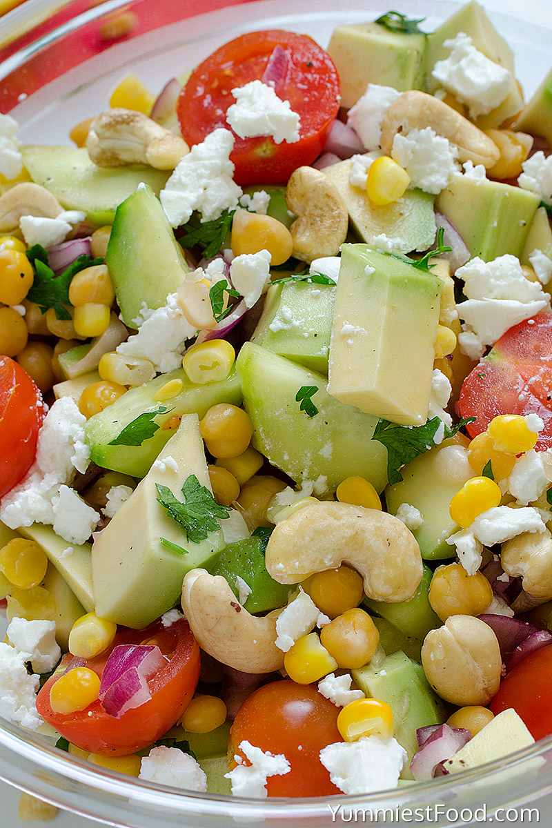 Avocado, Tomato, Cucumber, Corn, Chickpea and Cashew Salad