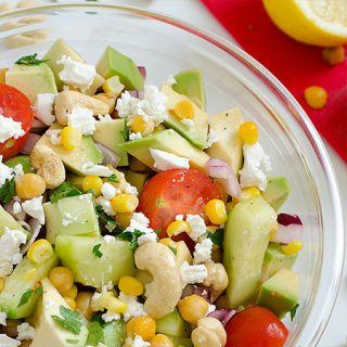 Avocado, Tomato, Cucumber, Corn, Chickpea and Cashew Salad with Feta Cheese - Featured Image