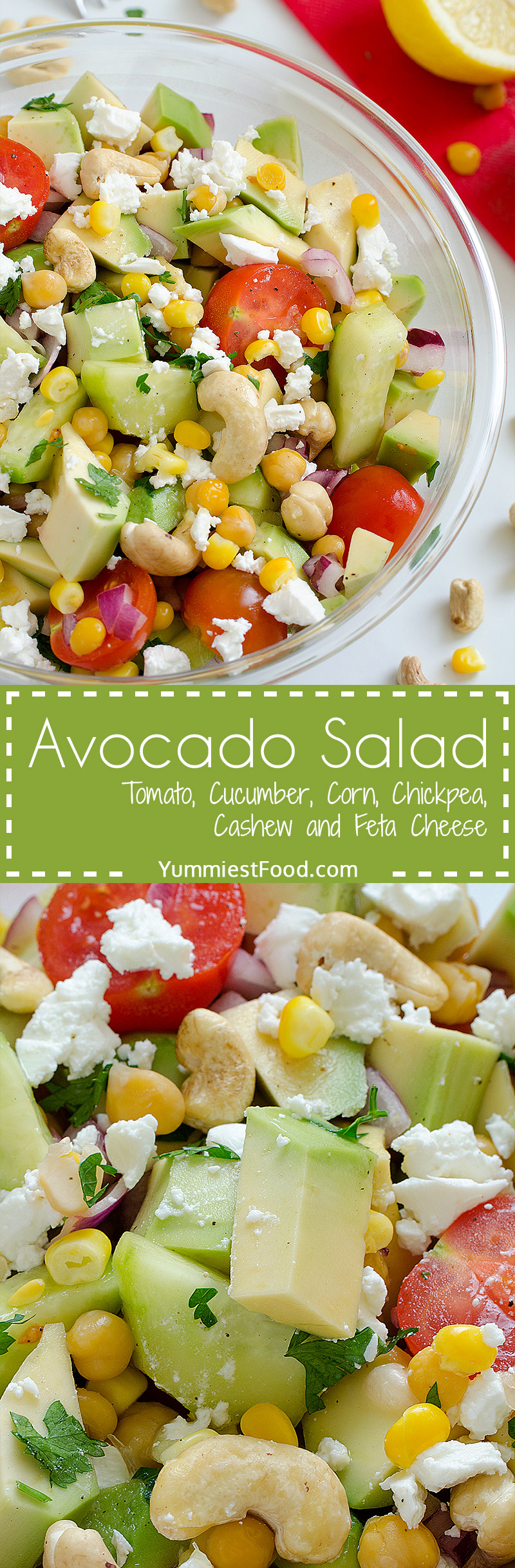 Avocado, Tomato, Cucumber, Corn, Chickpea and Cashew Salad with Feta Cheese - Light, full of healthy ingredients and perfectly refreshing.