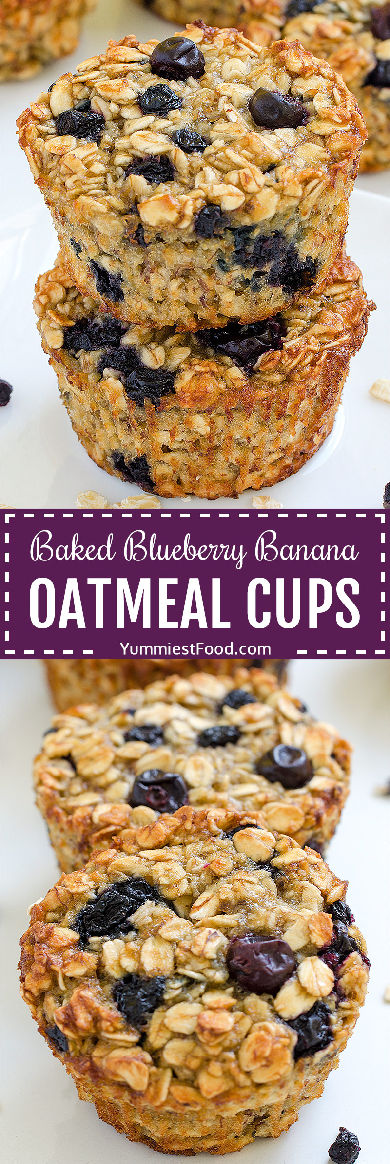 Quick and easy baked Blueberry Banana Oatmeal Cups are the perfect make-ahead breakfast for busy mornings. They are a cross between baked oatmeal and muffins and low in sugar and fat.