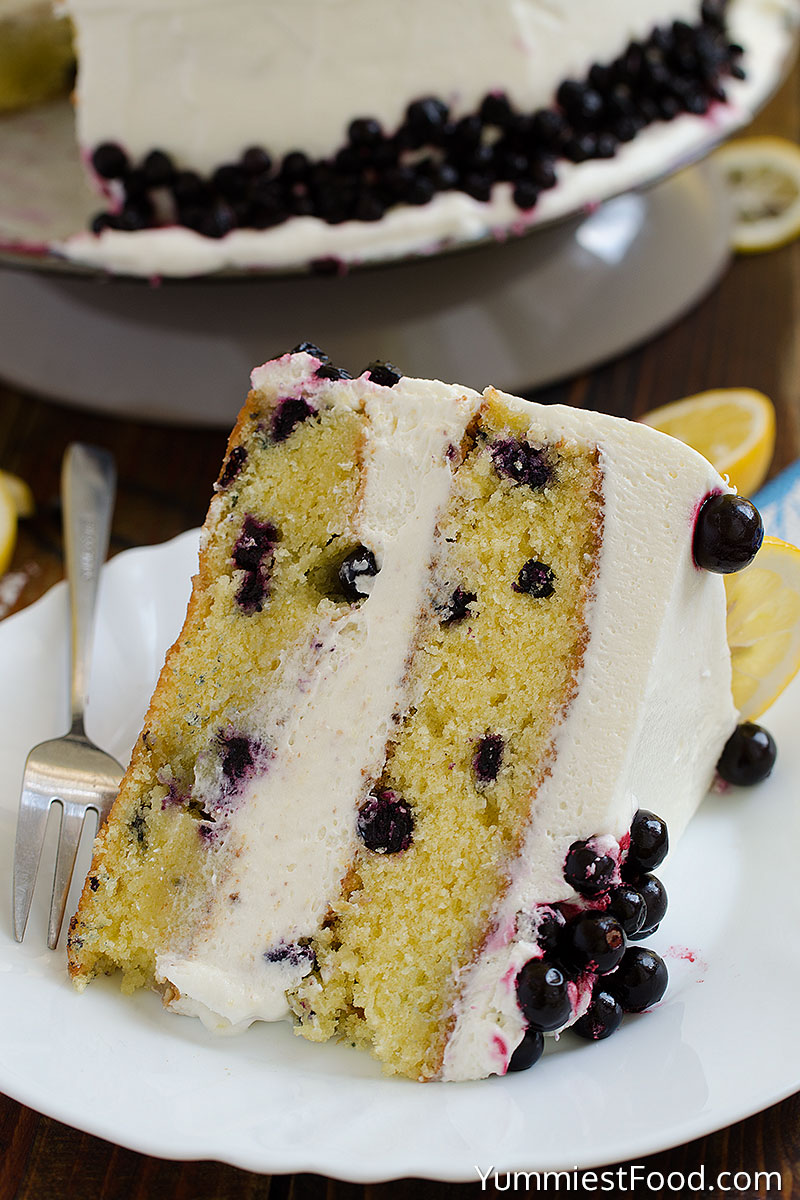 Lemon Blueberry Cake with Cream Cheese Frosting - Served