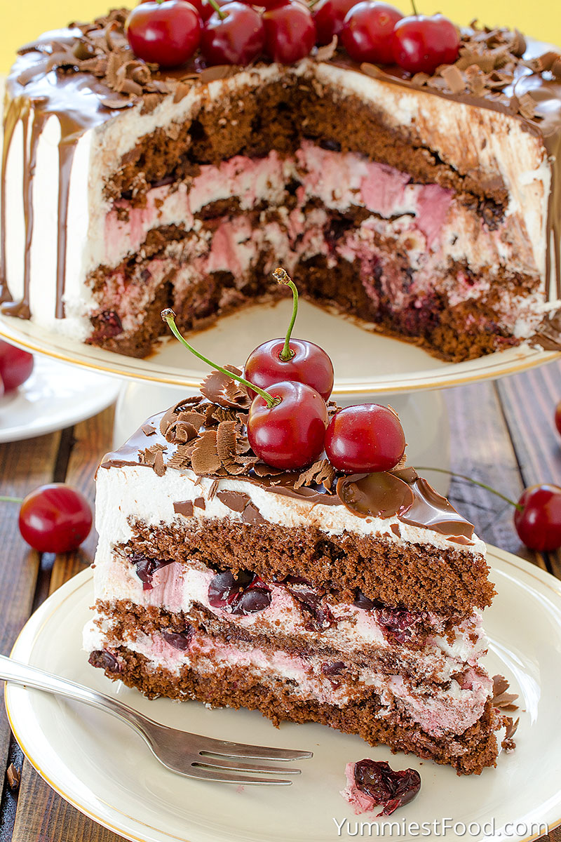 Cherry Chocolate Cake - Served