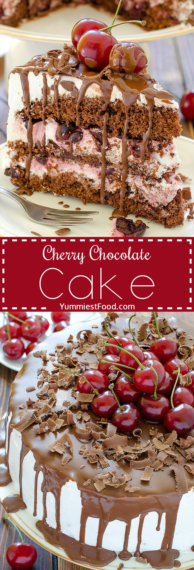 Cherry Chocolate Cake - Light, moist, refreshing and perfect cake for summer parties.
