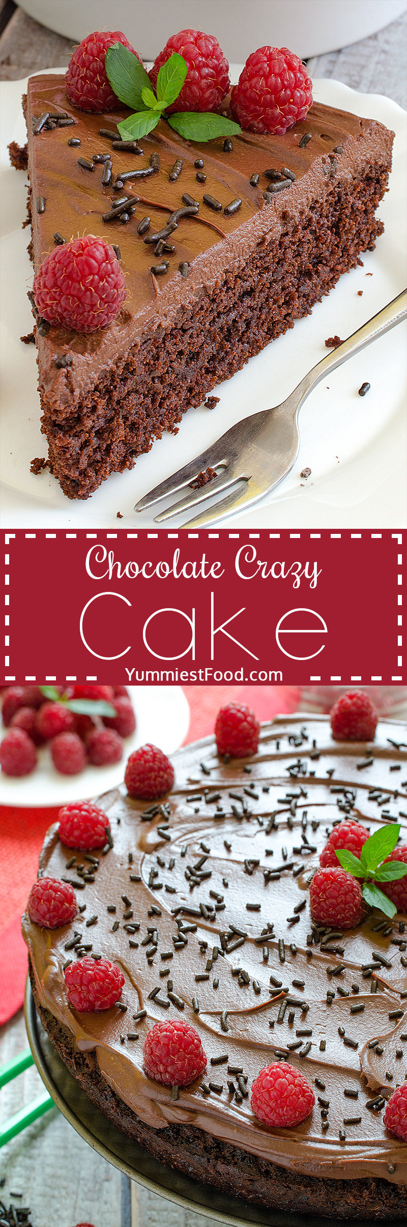 Chocolate Crazy Cake - Light, moist and fluffy! This Chocolate Crazy Cake is the best ever, very delicious and easy to make.