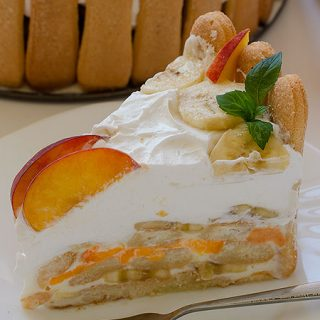 Banana Peach Ice Box Cake - Featured Image