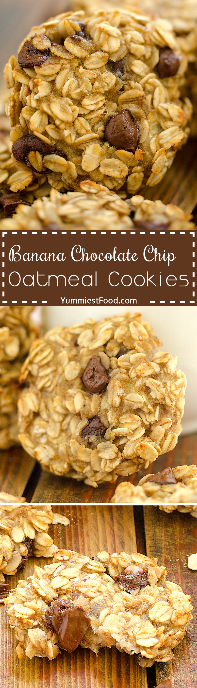 Banana Chocolate Chip Oatmeal Cookies – very quick and easy to make with only three ingredients.