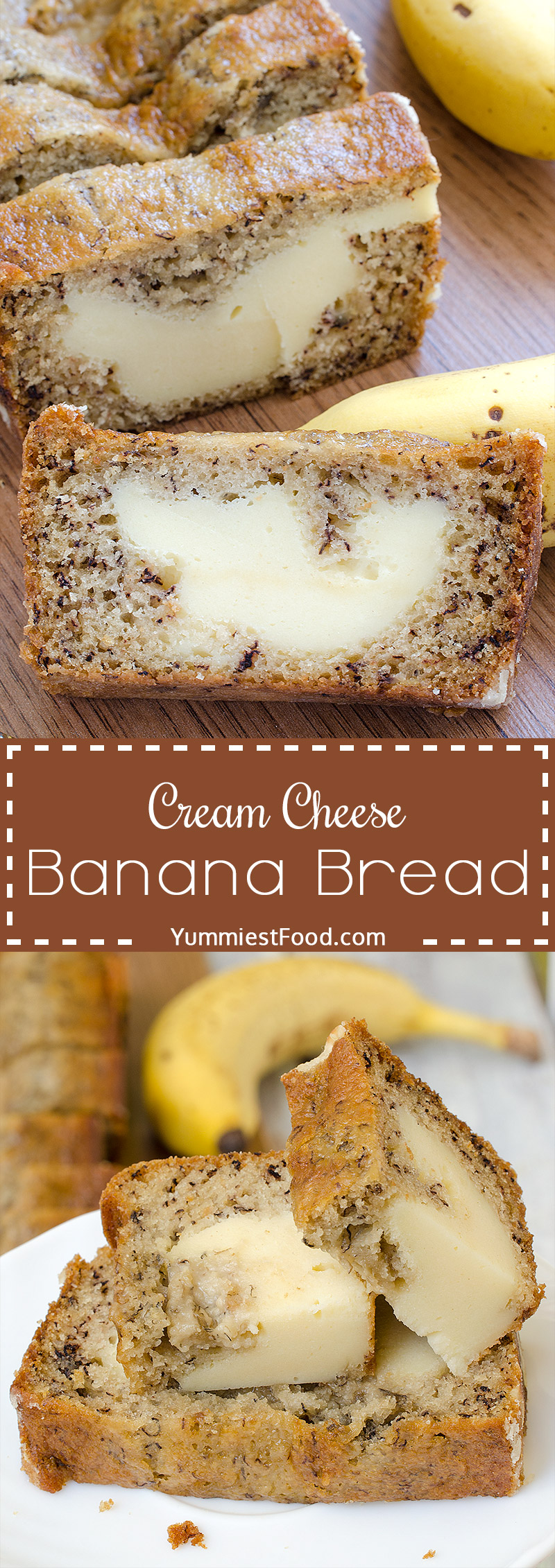 Cream Cheese Banana Bread - Perfect for breakfast, snack and dessert