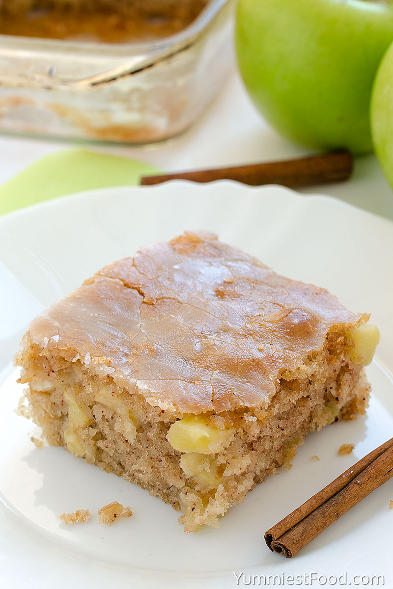 Apple Sheet Cake - served on the plate