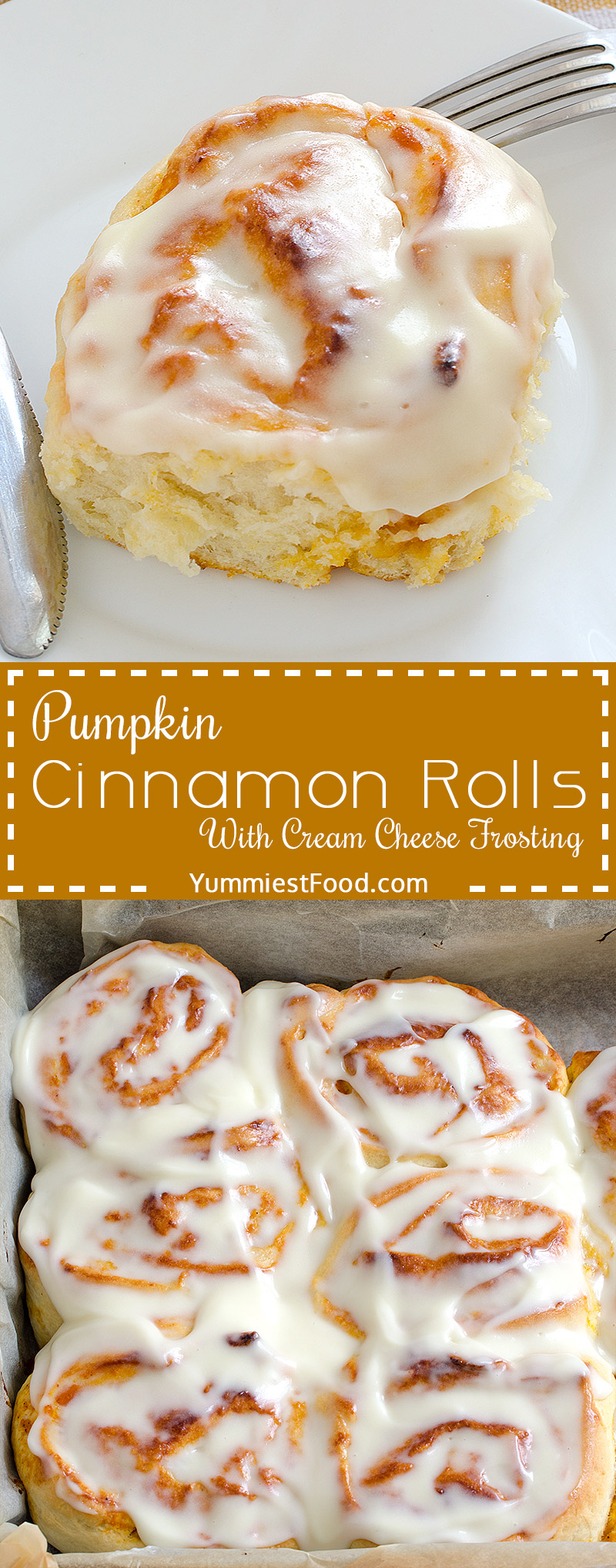 Pumpkin Cinnamon Rolls - super soft, moist, fluffy and delicious