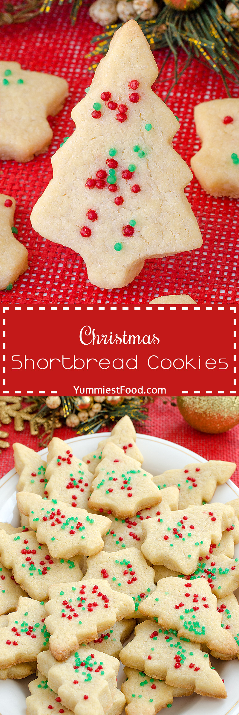 Christmas Shortbread Cookies Recipe - adorable, delicious, and tasty Shortbread Cookies with only 4 ingredients