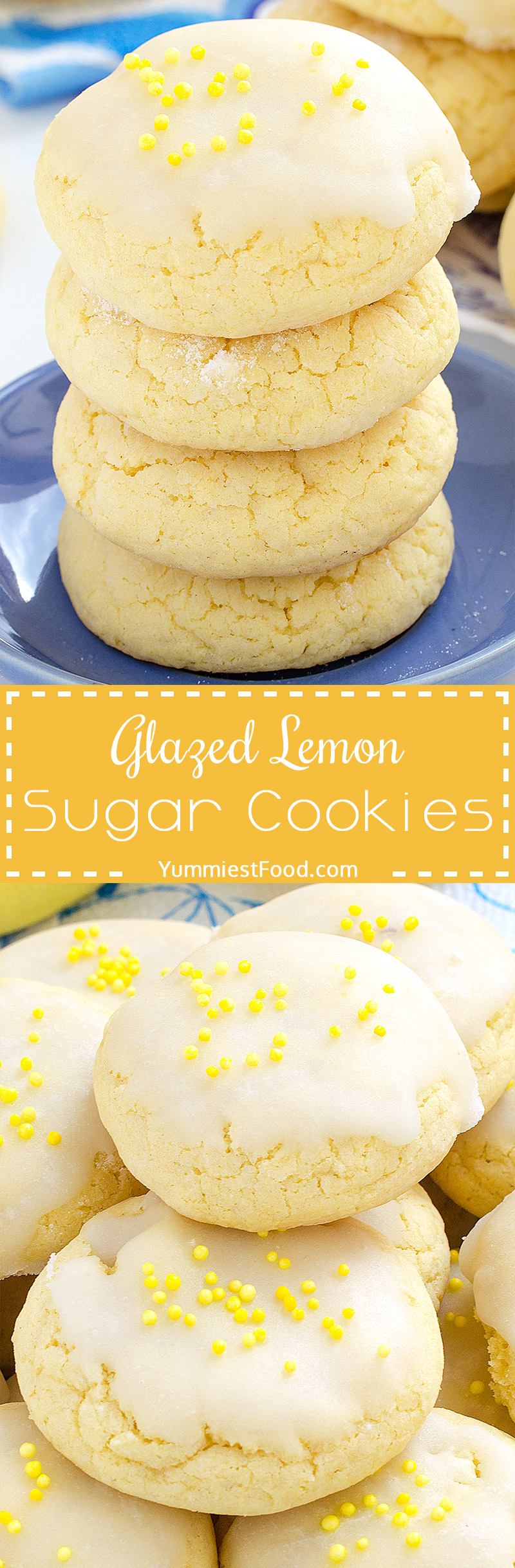 Glazed Lemon Sugar Cookies - so sweet, delicious and refreshing! Very easy and quick to make with only few ingredients!