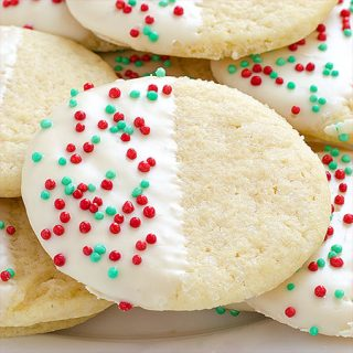 White Chocolate Dipped Sugar Cookies - Featured Image