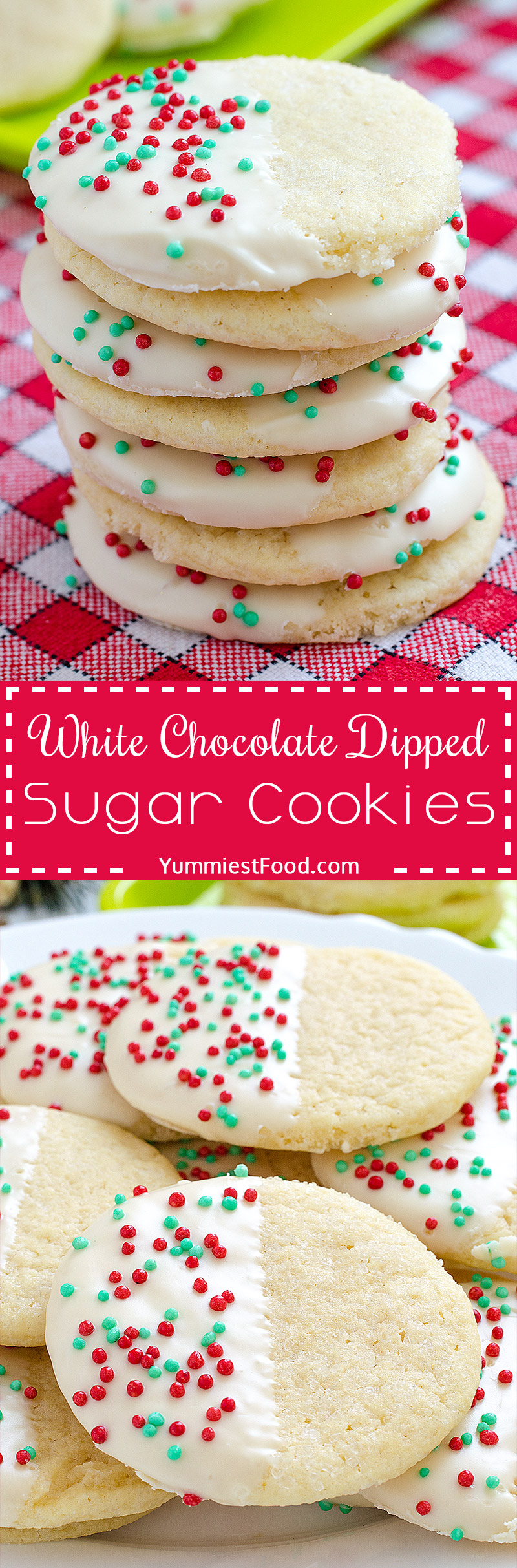White Chocolate Dipped Sugar Cookies - a Christmas cookies must! So delicious, cute and very easy to make.