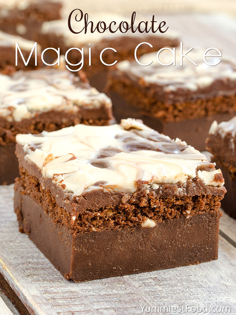 Chocolate Magic Cake with Chocolate Glaze and Swirl