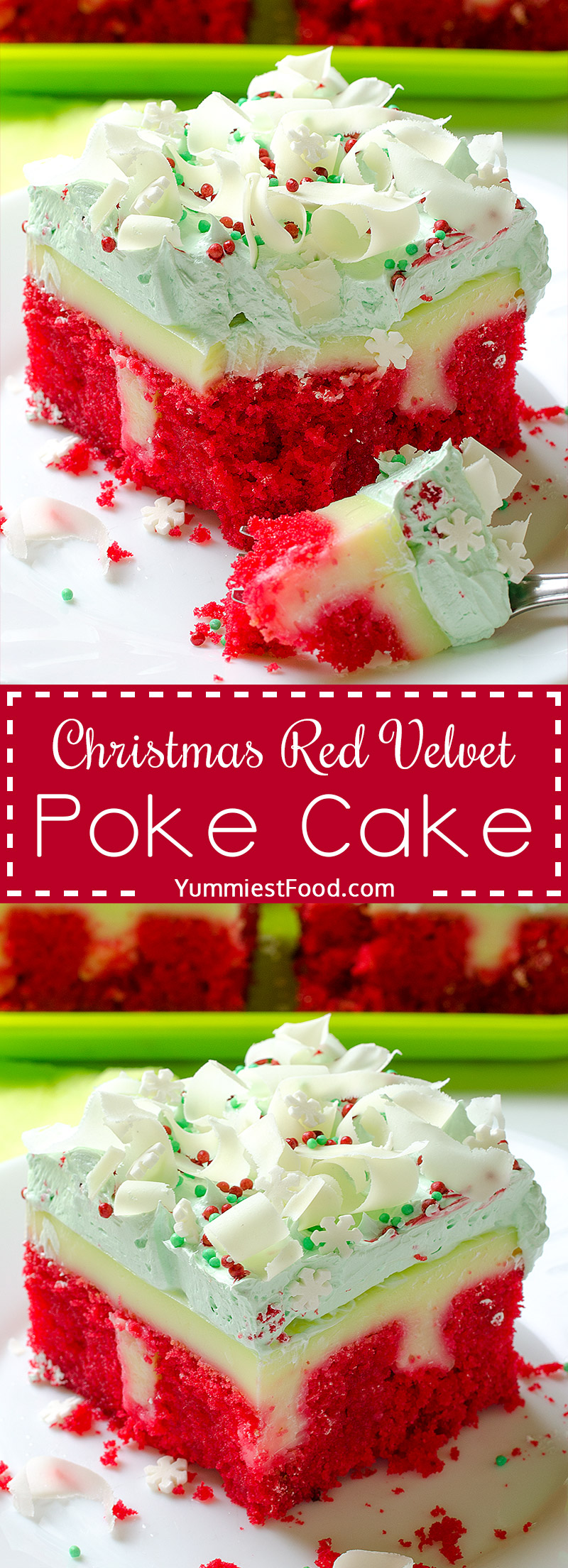 Christmas Red Velvet Poke Cake Recipe - very tasty, rich and moist! A taste of Christmas in every bite of this delicious Poke Cake