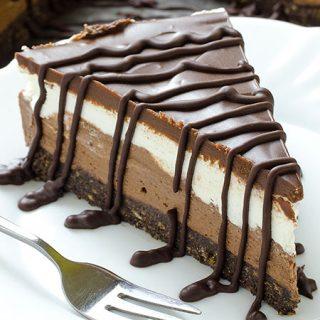 Layered Chocolate Cheesecake with Oreo Crust - Featured Image