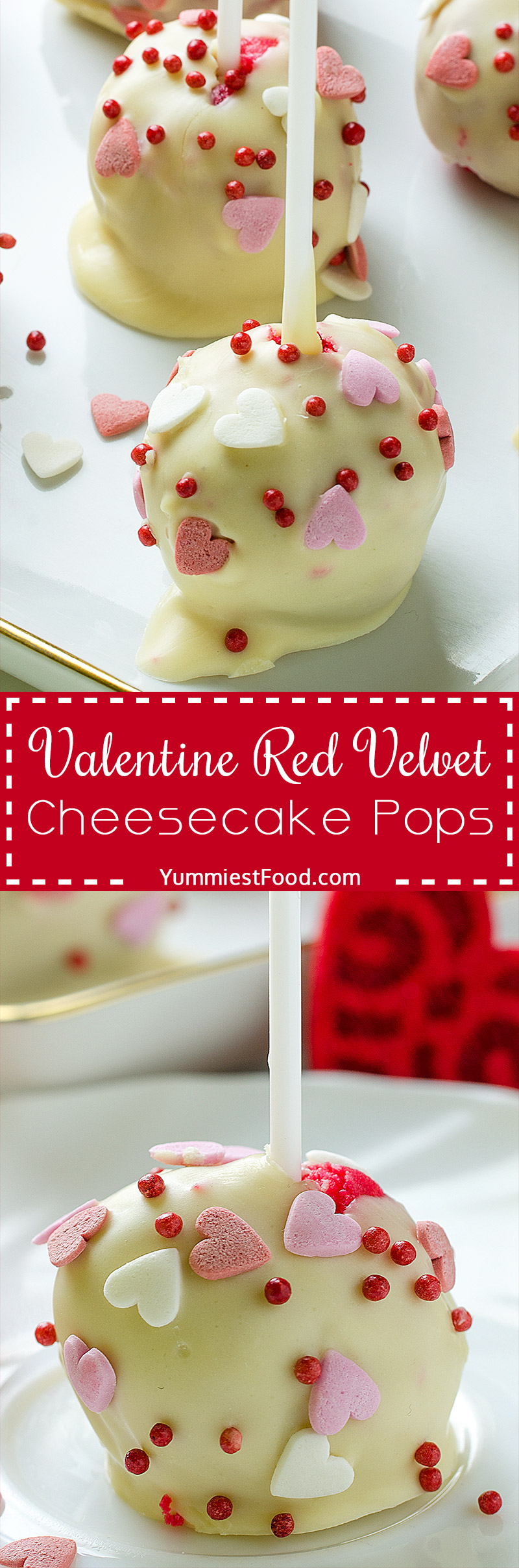 The most delicious Red Velvet Cheesecake Pops recipe ever. Perfect dessert for Valentine's Day.