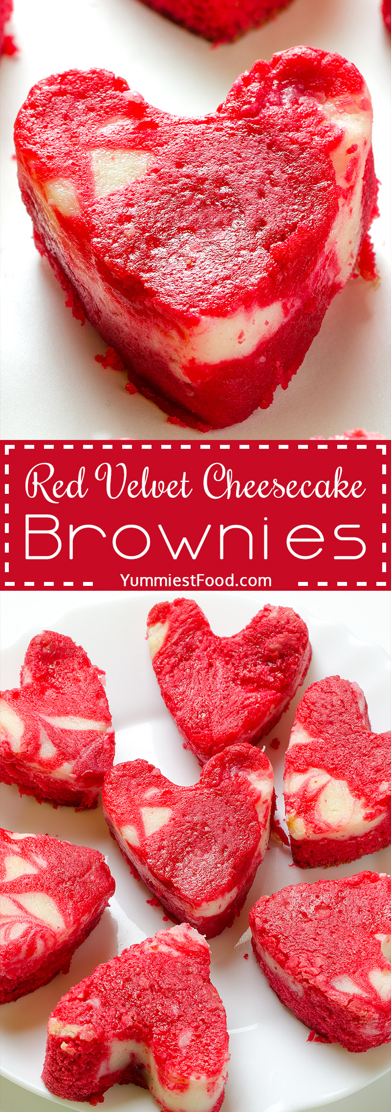 So tasty and creative Valentine's Red Velvet Cheesecake Brownies - the perfect dessert for Valentine's Day.