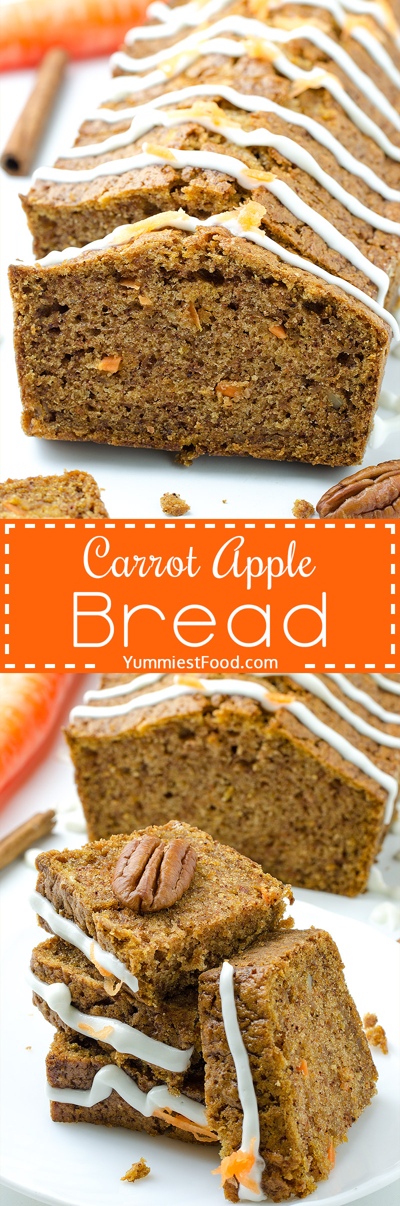 Carrot Apple Bread - yummy and very quick bread. Carrot Apple Bread is ideal choice for healthy breakfast. Super Carrot and Apple combination.
