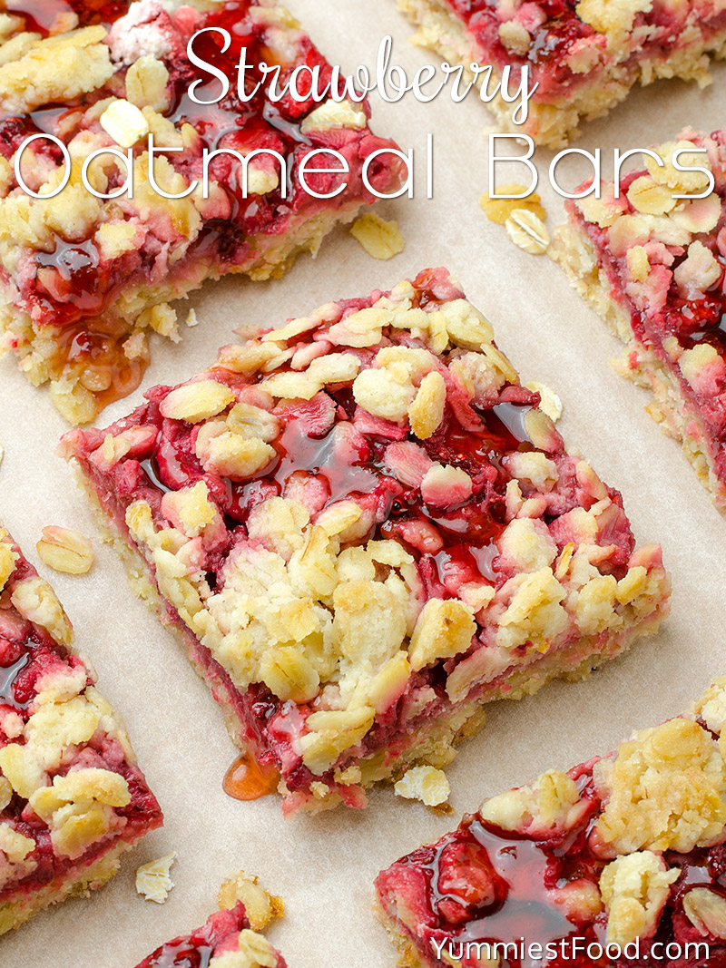 healthy breakfast strawberry oatmeal bars recipe from yummiest