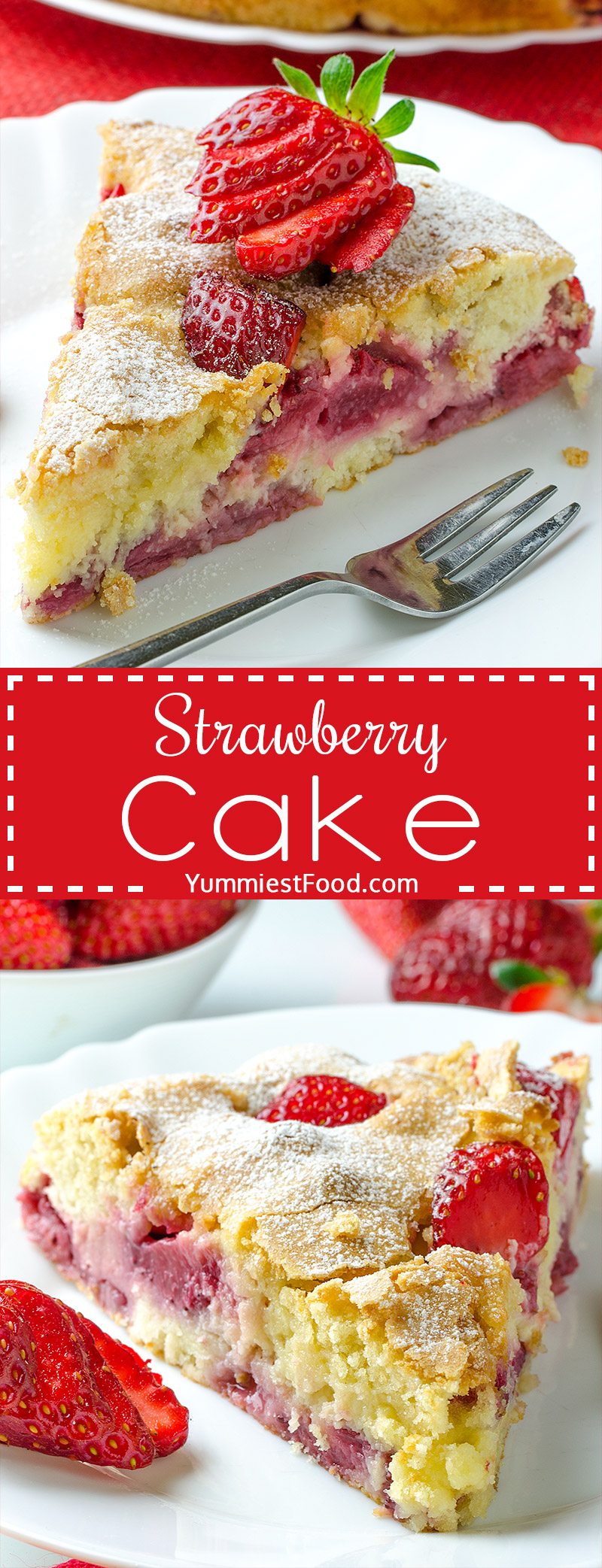 Strawberry Cake - Rich flavor, moist, super tasty and easy to make