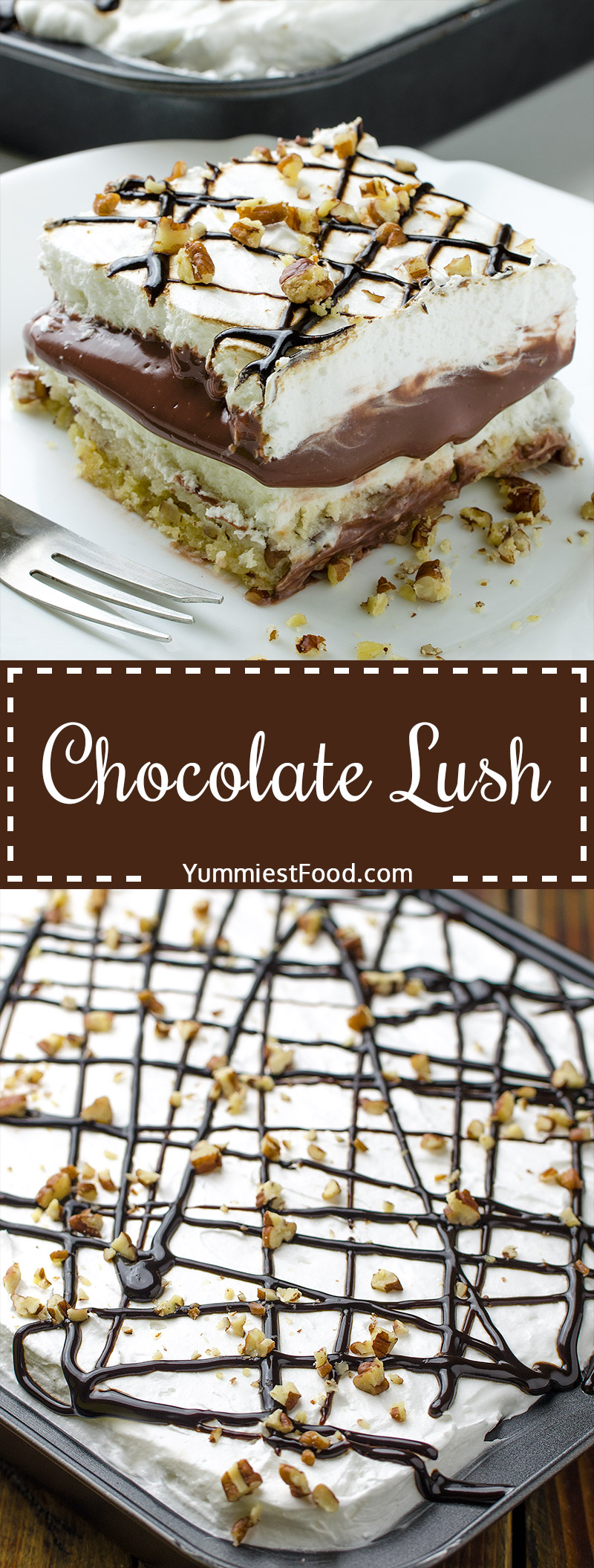 Chocolate Lush - perfect combination of cream cheese, cool whip and pecans. Layer after layer of chocolate fantasy.