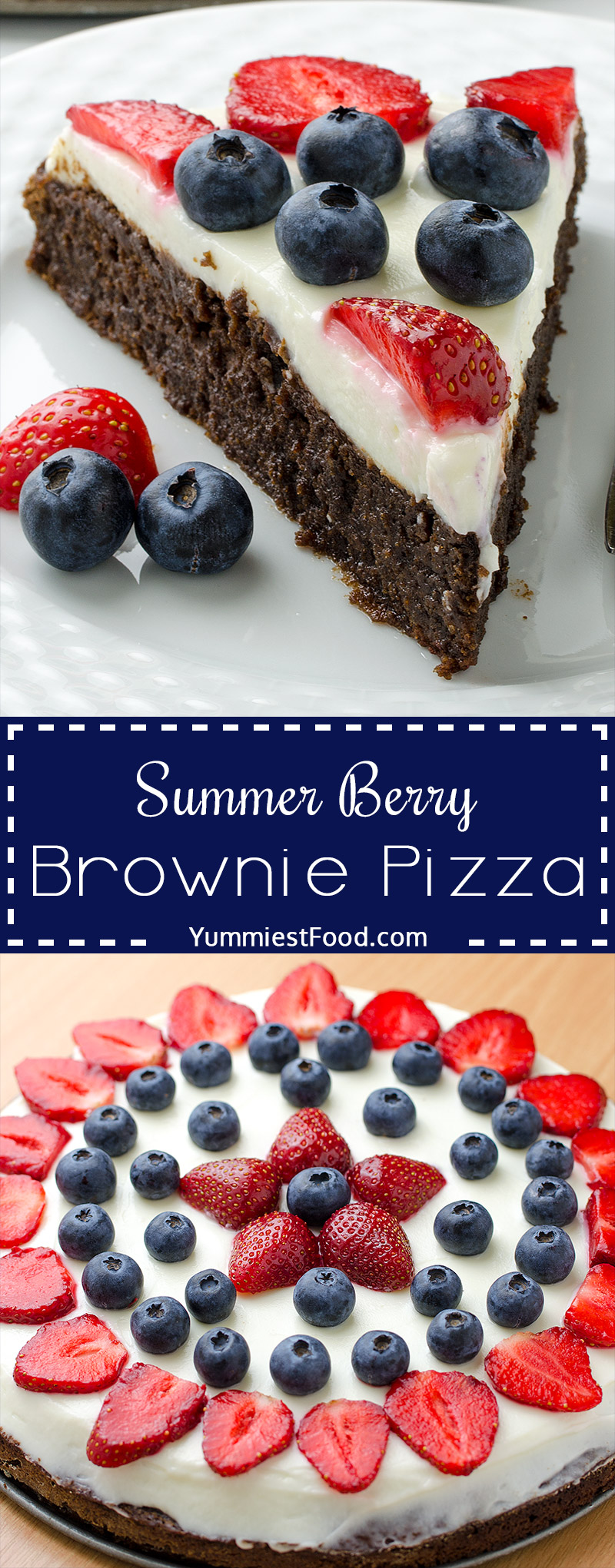 Summer Berry Brownie Pizza - sweet dessert pizza with delicious brownie crust topped with cream cheese frosting and loaded with lots of berries
