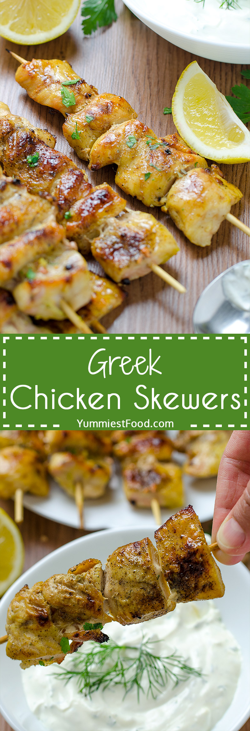Quick and Easy Greek Chicken Skewers with Homemade Tzatziki Sauce