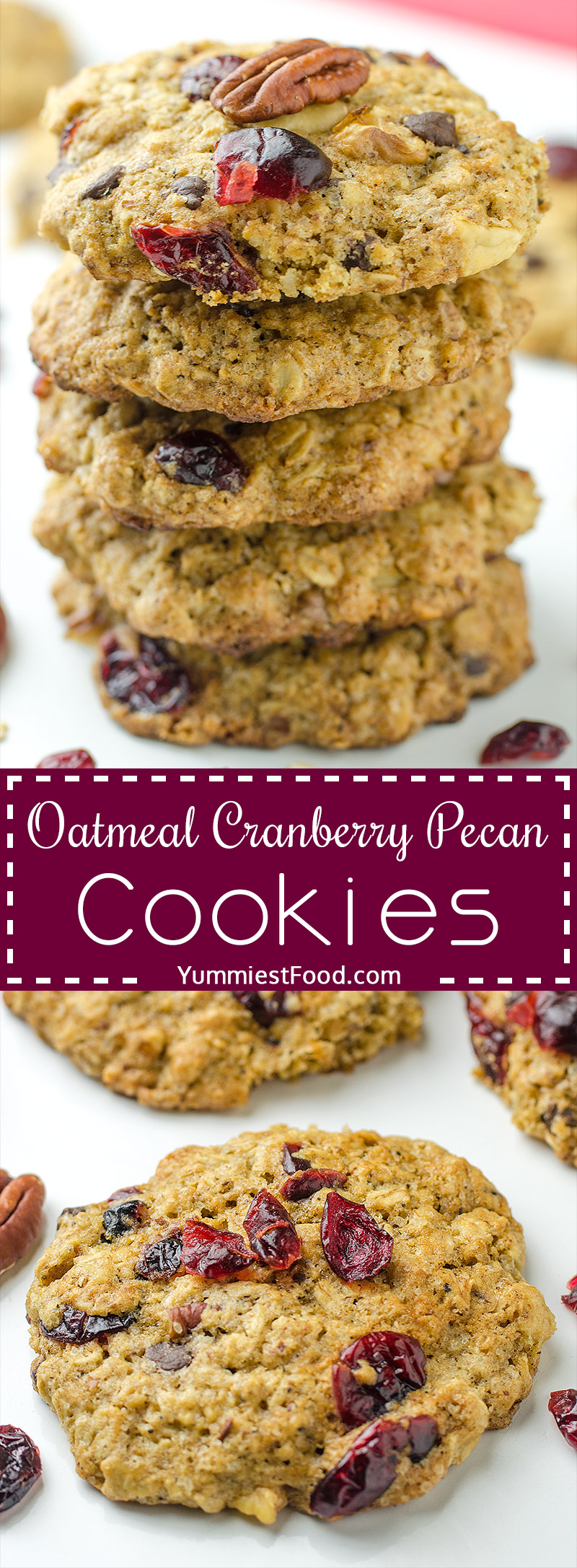 Breakfast Oatmeal Cranberry Pecan Cookies - Soft and chewy oatmeal cookies packed with cranberries, pecans and chocolate chips