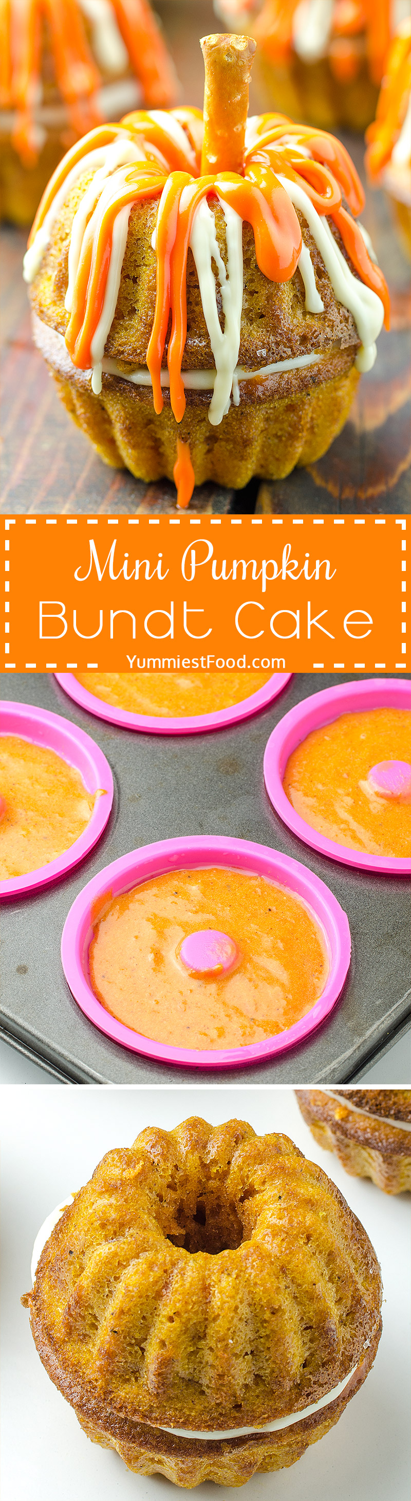 Mini Pumpkin Bundt Cake - A frighteningly delicious treat with pumpkin and cream cheese filling