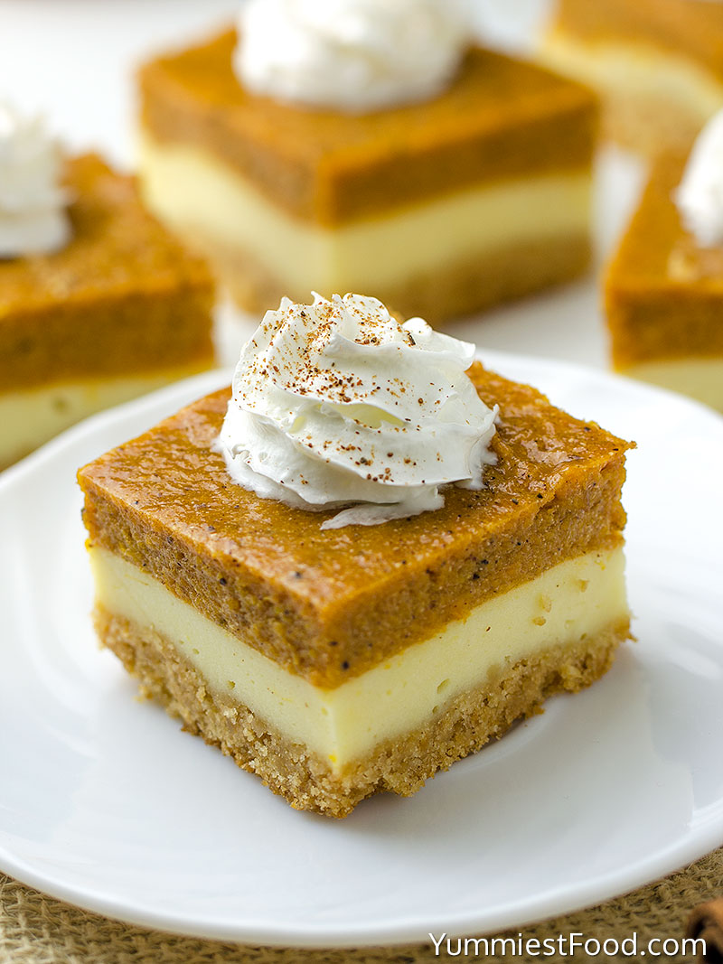 Pumpkin Cheesecake Bars - served on the plate