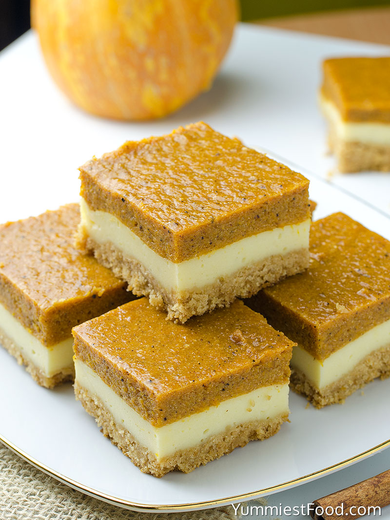 Pumpkin Cheesecake Bars - Served