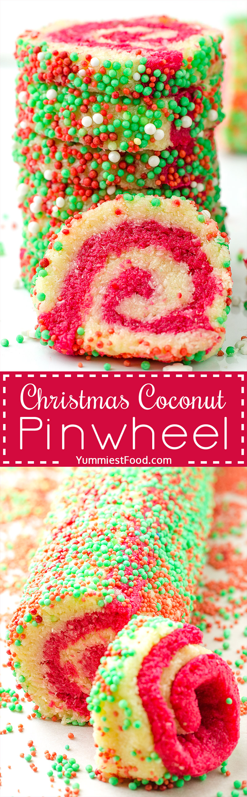 Christmas Coconut Pinwheel No Bake - a super cute and festive no bake dessert