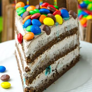 KIT KAT and M&M Chocolate Cake With Peanut Butter Frosting - Featured Image