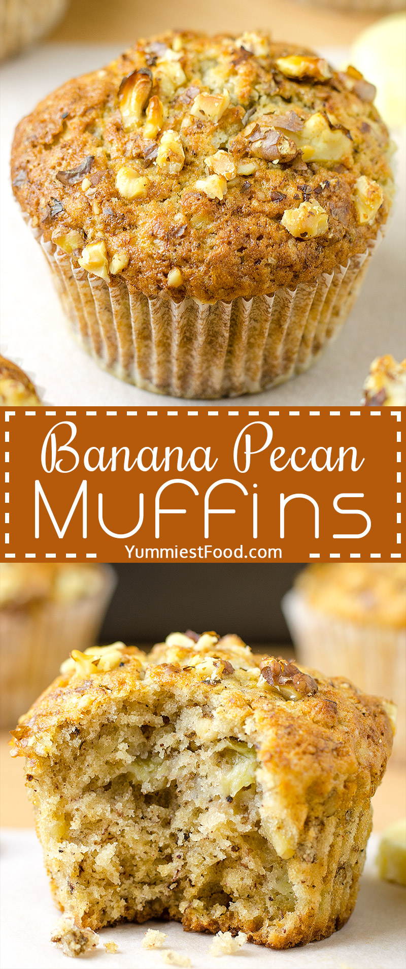 BANANA PECAN MUFFINS - Great for breakfast, snack or a dessert