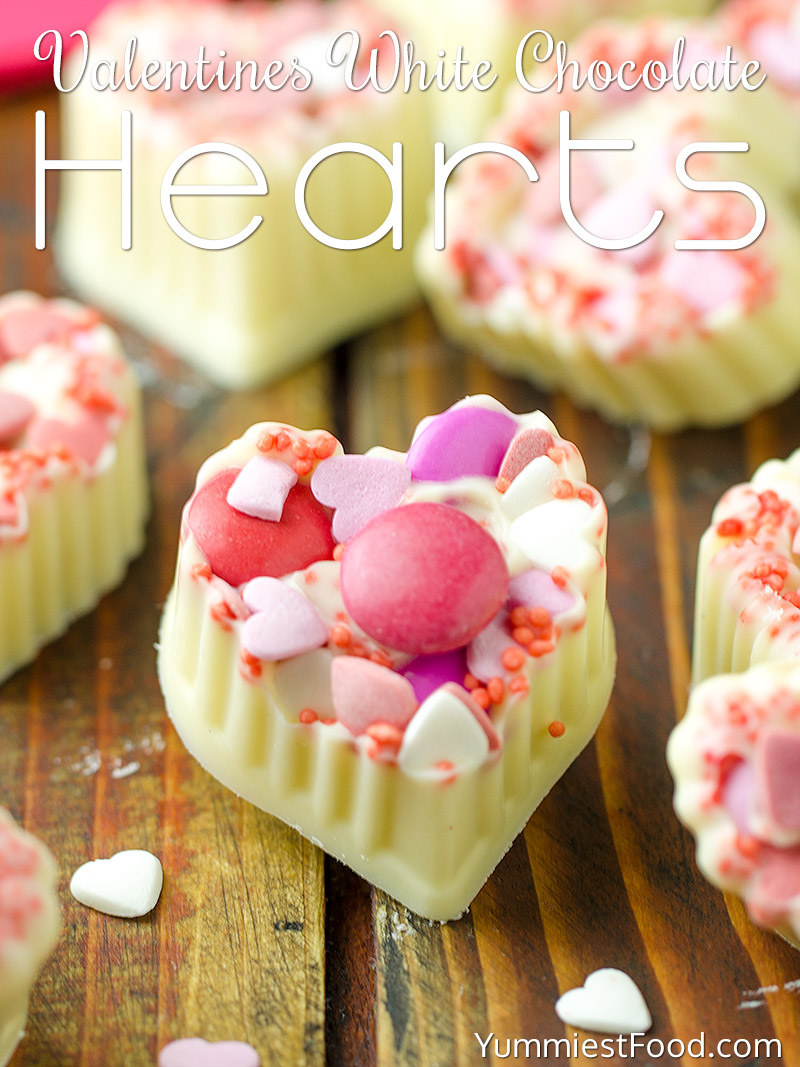 Valentines White Chocolate Hearts