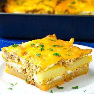 Hamburger Potato Cheese Casserole Recipe - Featured Image