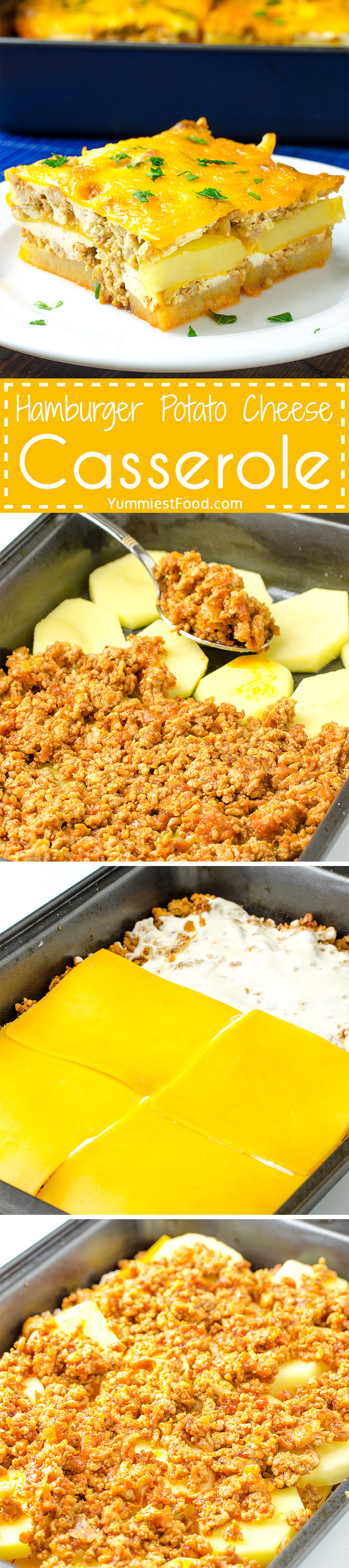 HAMBURGER POTATO CHEESE CASSEROLE - This easy dish is full of flavor and makes a fun dinner the whole family will love